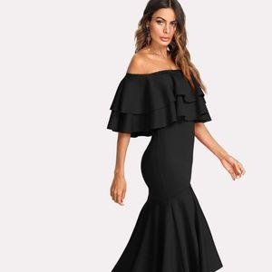 Layered Flounce Trim Asymmetrical Hem Bardot Dress